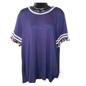 🍓HOST PICK🍓 Blue tassel shirt